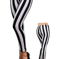 Sexy Women Vertical Black and White Stripped Leggings