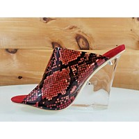 "Mac J Red Transparent Snake Print Slip On Clog 3.75"" Clear Acrylic Wedge  7-11"