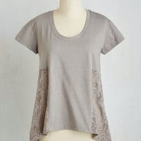 Mid-length Short Sleeves Zest and Relaxation Top in Ash