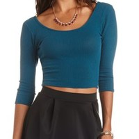 Ribbed Sweater Knit Crop Top by Charlotte Russe
