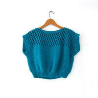 Vintage cropped sweater. Sleeveless knit top. Loose knit sweater top. Turquoise knit sweater. Modern. Open knit sweater.