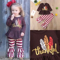 Thanksgiving  clothes Kid Baby Girl Dress Tops Stripe Ruffle Long Pants Outfit Clothes set 2pcs