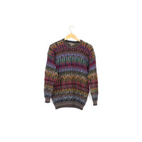 ALPACA rainbow sweater / super soft! colorful coogi style knit jumper / crew neck / inca trail / small - medium