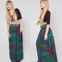 Vintage 70s PATCHWORK Print Maxi Skirt Psychedelic Stained Glass Print Hippie Skirt Boho Long Gypsy Skirt
