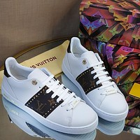 LV Louis Vuitton new product willow nail coffee letter printing ladies casual shoes white shoes