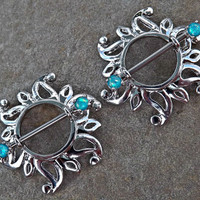 Pair Of Swirling Sunburst Tribal Shield Nipple Ring 316L Surgical Steel Barbell Body Jewelry