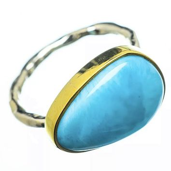 Larimar Two Tone Sterling Silver East West Ring