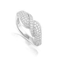 Sterling Silver Simulated Diamond Ribon Ring