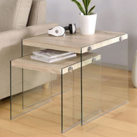 Two-Piece Nesting Table Set Contemporary Living Room Furniture Light Wood Finish