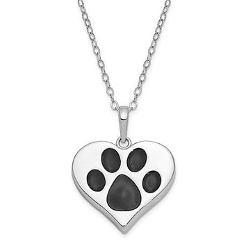 """Sterling Silver Antiqued Black Paw In Heart Ash Holder 18"""" Necklace"""