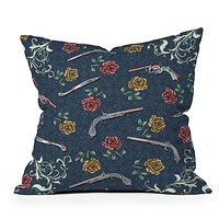 Belle13 Elegant Guns and Roses Throw Pillow