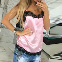New Arrival 2017 Summer Women Camisole Lace Patchwork Tank Tops Ladies Sexy Sleeveless V Neck Backless Slim Satin Camis