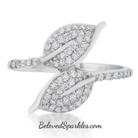 Liana Leaf Wrap Fashion Cocktail Ring | 0.8ct | Cubic Zirconia | Silver