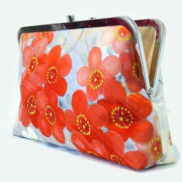 """Grey Silk Clutch Bag With Red, Coral Pink And White Floral Design, Silk Purse Made From Japanese Kimono Silk Bridal Purse 9"""" x 5.5"""""""