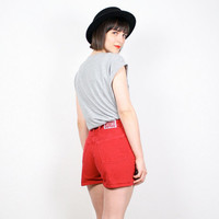 Vintage High Waisted Shorts Denim Shorts Red Jean Shorts BONGO Denim Shorts 1980s 80s New Wave Colored High Waisted Denim Cut Offs S Small