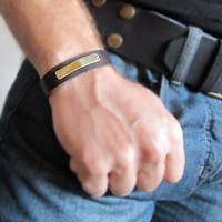 Personalized Leather Mens Bracelet / Adjustable Customized Wristband / Gift for Him