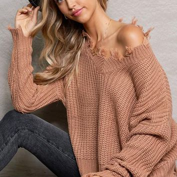 Give Me Love Sweater in Camel