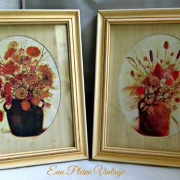 Home Interiors Gifts Vintage Homco Framed Set Country Autumn Floral Garden Prints