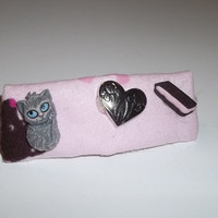 Hair Barrette -Grey Hair Misses Strawberry Cream Sand Biscuit - on Pink (Right)  - Cat Ornament Hair Clip
