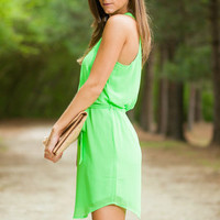 Laced Together Dress, Lime