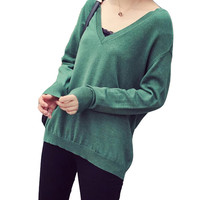 V Neck Long Sleeve Solid Color Kintted Sweater