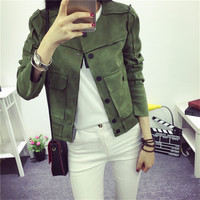 High Street Ladies Soft Suede Jacket Women Vintage Faux Leather casual short Army Green Pink Outwear Tops Slim Wear