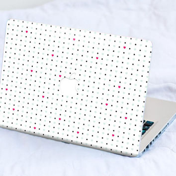 Mint green polka dots and hearts - washi tape style. MacBook Decal Skin MacBook decal Laptop Cover MacBook Asus Dell Lenovo Chromebook