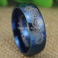 Free Shipping YGK JEWELRY Hot Sales 8MM Doctor Who Time Lord Shiny Blue Dome Men's Fashion Tungsten Wedding Ring