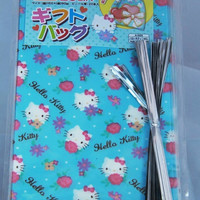 20 pcs Clear Poly / Cello Gift Bags - Hello Kitty with Flowers by Sanrio light blue