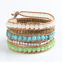 Fashion Vintage Style Weaving Leather Bracelet for Women jewelry Natural Opal
