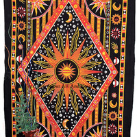 Twin Hippy Hippie Celestial Sun Tapestry ,Sun Moon Stars Tapestry Wall Hanging ,Cotton Day Light Sun Print Indian Tapestry