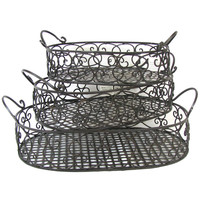 Metal Oval Basket Tray Set with Handles | Hobby Lobby