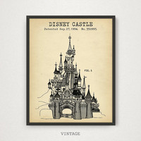 Disney Castle Patent Print, Digital Download, Cinderella Castle Blueprint Art, Magic Kingdom, Nursery Decor, Disney World Poster, Girls Gift