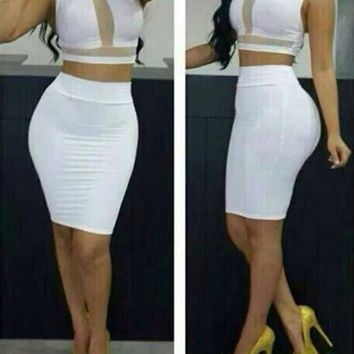 Womens White Sleeveless Cropped Top High Waisted Bodycon 2 Pieces Midi Dress