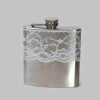 Stainless Steel Hip Flask with real white lace wrap - 4oz 6oz
