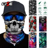 3D Skeleton Ghost Skull Seamless Motorcycle Balaclava Magic Neck Face Mask Moto Head Shield Anti-UV Outdoor Bandana Sun Mask Man