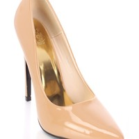 Dark Nude Pointed Toe Single Sole Pump Heels Patent
