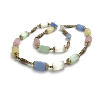1930's Necklace | Russian Cane Beads | Pastel Glass And Embossed Gold Metal Bead Necklace | Sherbet Coloured Vintage Necklace
