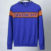 Givenchy 2018 autumn new tide brand men's round neck long-sleeved sweater Blue