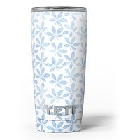 Blue Watercolor Leaves - Skin Decal Vinyl Wrap Kit compatible with the Yeti Rambler Cooler Tumbler Cups