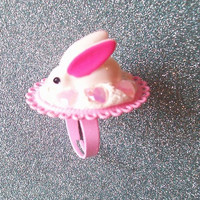 Sugar Bunny - Sweet Pastel Pink Ring with Bunny and Iridescent Hearts