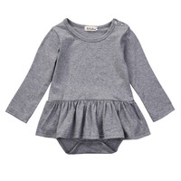 Spring Autumn Fashion Baby Girls Clothes Cotton Baby Girl Tutu Dress Rompers Long Sleeve Baby Jumpsuit