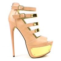 Fahrenheit Vicky-02 Chrome Accented High Heel Platform Pump in Blush @ ippolitan.com