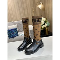 lv louis vuitton trending womens men leather side zip lace up ankle boots shoes high boots 93