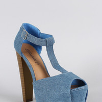 Breckelle Denim T-Strap Peep Toe Platform Heel Color: Blue Denim, Size: 7.5