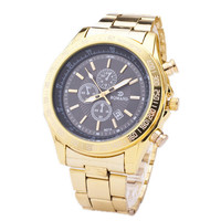 Mens Gold Steel Strap Watch Sports Casual Business Watches Best Christmas Gift