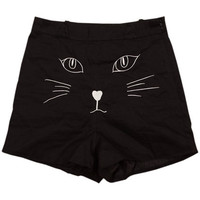 ROMWE | High Waist Cat Embroidery Black Shorts, The Latest Street Fashion