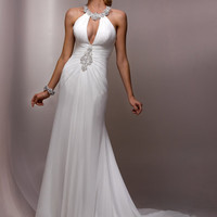 Ivory & Silver Ruched Beaded Chiffon Cut Out Electra Wedding Dress - Unique Vintage - Cocktail, Evening & Pinup Dresses