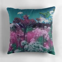 'Wildflowers in the Meadow' Throw Pillow by Sarah Davies