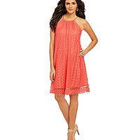 Maggy London Oval Striped Lace Sleeveless A-Line Dress - Guava